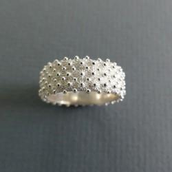Large silver filigree ring