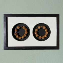 Wall frame decor, two Apsara bracelets