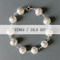 Silver filigree ball bracelet