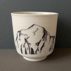 white porcelain cup Dhaulagiri