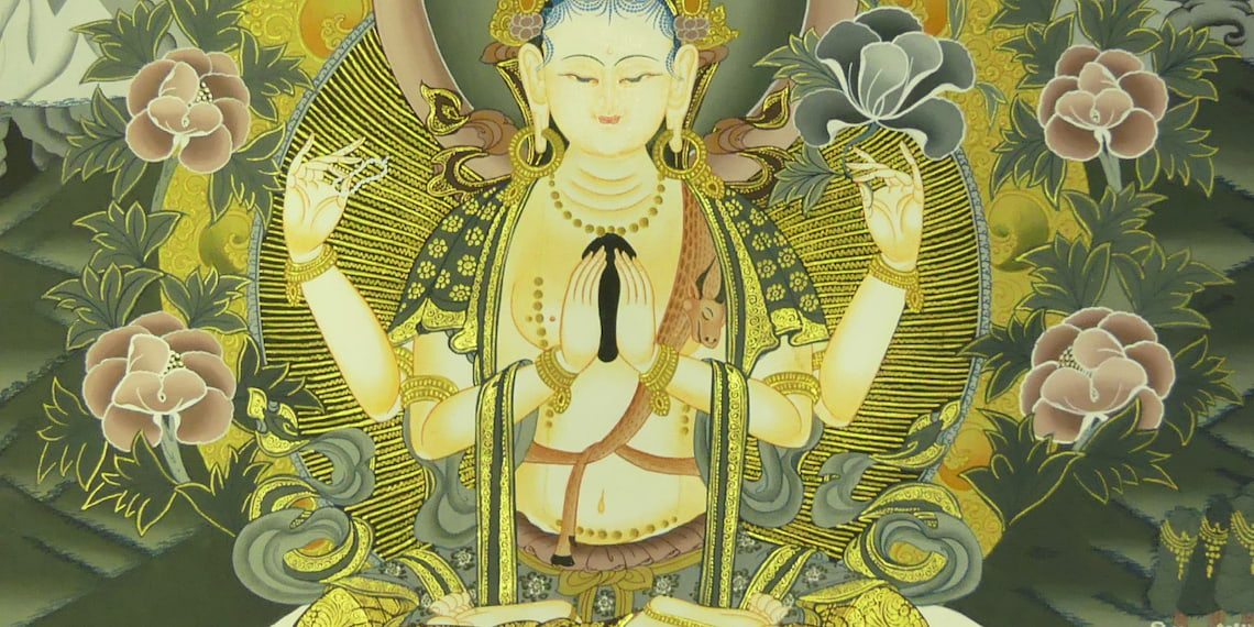 details of chenrezig thangka