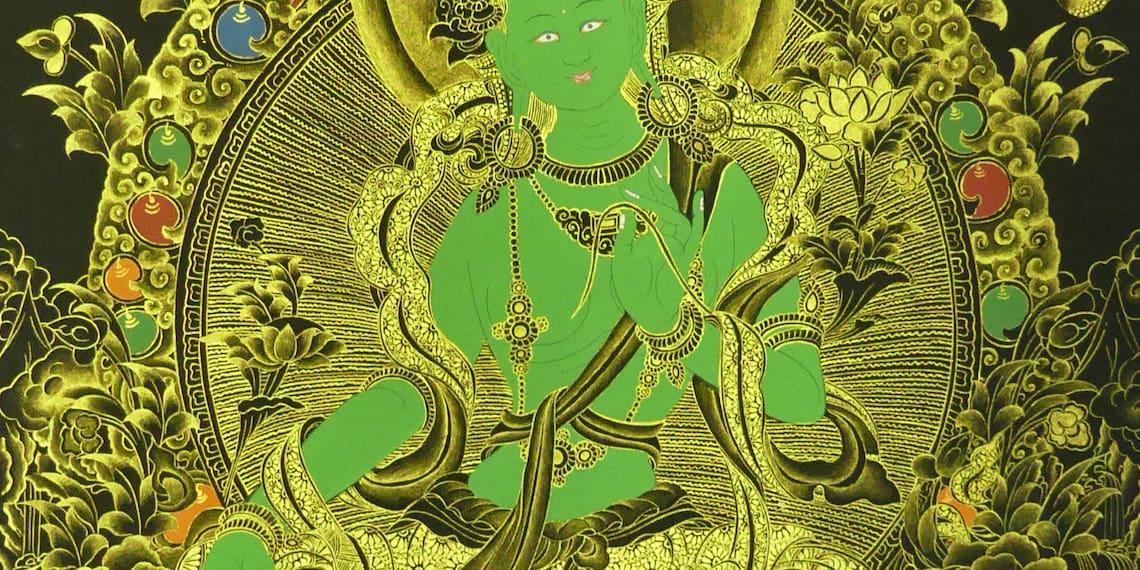 détail de green tara peinture