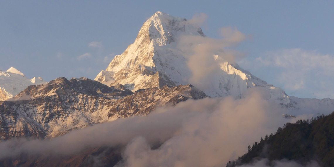 view on the sacred mountain the Machapuchare