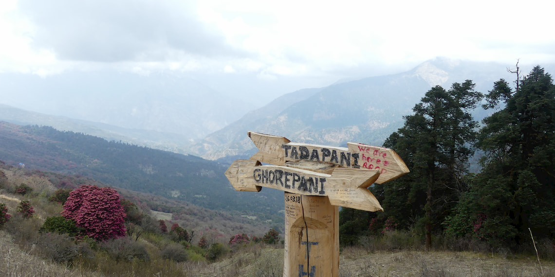 sign on the way of the trekking